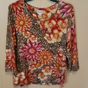 EUC Chico's 3/4 Sleeve Floral Top Size 2 (Med)